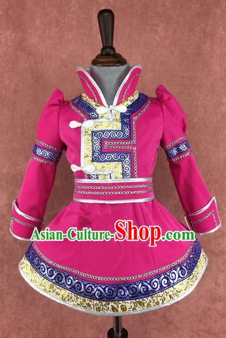 Traditional Chinese Mongol Nationality Costume Children Rosy Dress, Mongolian Folk Dance Clothing for Kids