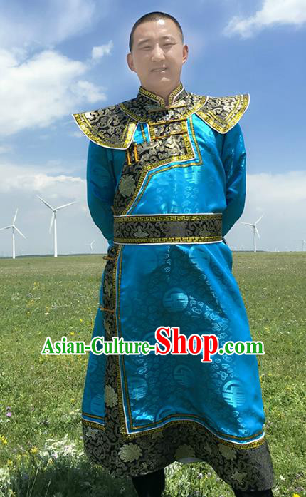 Chinese Mongol Nationality Royal Highness Costume, Traditional Mongolian Folk Dance Clothing Blue Mongolian Robe for Men