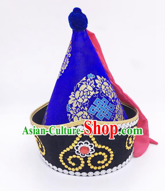 Traditional Chinese Mongol Nationality Prince Royalblue Hat, Mongolian Minority Dance Hats for Men