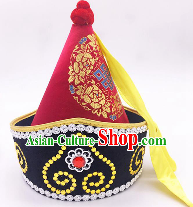 Traditional Chinese Mongol Nationality Prince Red Hat, Mongolian Minority Dance Hats for Men