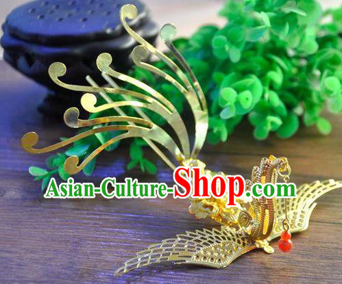 Ancient Chinese Handmade Hair Accessories Classical Phoenix Hairpins Golden Hair Clip for Women