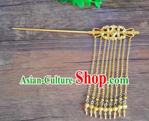 Ancient Chinese Handmade Hair Accessories Classical Hairpins Golden Tassel Hair Clip for Women