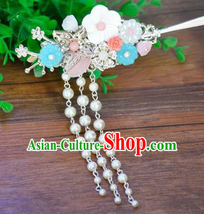 Ancient Chinese Handmade Hair Accessories Classical Palace Hairpins Tassel Step Shake for Women