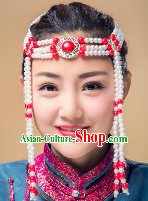 Traditional Chinese Mongol Nationality Beads Hair Accessories, Mongolian Minority Dance Hair Clasp for Women