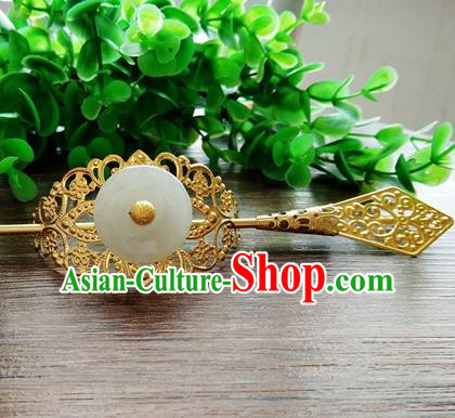 Handmade China Ancient Prince Hair Accessories Swordsman Jade Hairdo Crown for Men