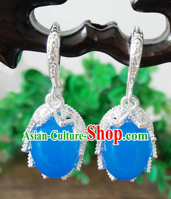 Chinese Handmade Accessories Hanfu Blue Eardrop Ancient Earrings for Women