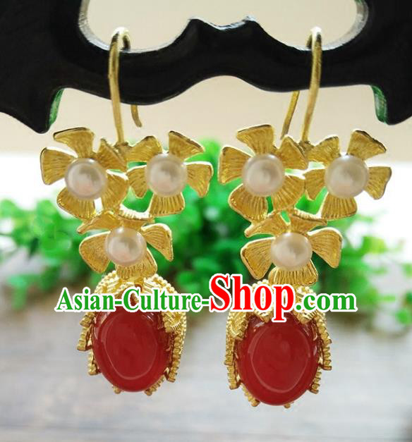 Chinese Handmade Accessories Hanfu Princess Red Agate Eardrop Ancient Pearls Earrings for Women