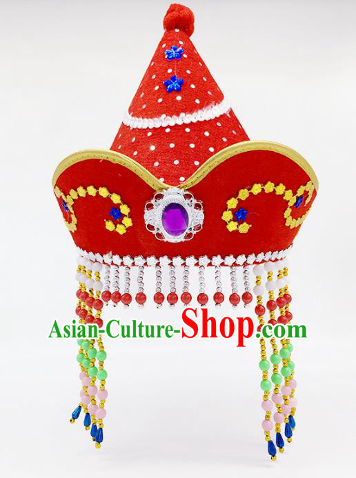 Traditional Chinese Mongol Nationality Red Hats, Mongolian Minority Hair Accessories Dance Headwear for Kids