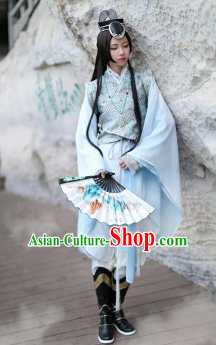 Ancient Chinese Cosplay Young Swordsman Embroidered Costume Ming Dynasty Knight-Errant Clothing for Men