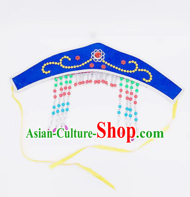 Traditional Chinese Mongol Nationality Blue Headband, Mongolian Minority Hair Accessories Dance Headwear for Kids