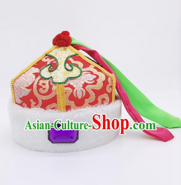 Traditional Chinese Mongol Nationality Children Red Hats, Mongolian Minority Hair Accessories Dance Headwear for Kids