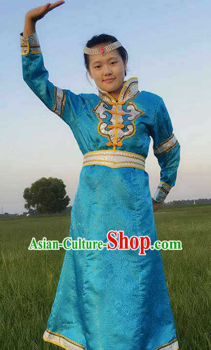 Chinese Mongol Nationality Ethnic Costume, Traditional Mongolian Folk Dance Clothing Blue Mongolian Robe for Women