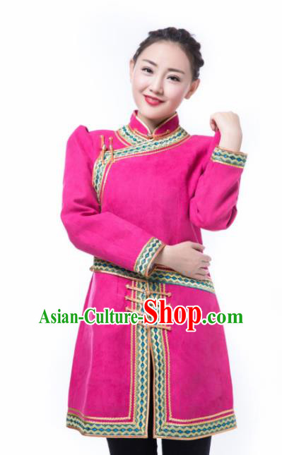 Chinese Mongol Nationality Ethnic Suede Fabric Costume, Traditional Mongolian Folk Dance Rosy Clothing for Women