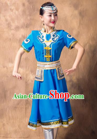Chinese Mongol Nationality Ethnic Costume Blue Dress, Traditional Mongolian Folk Dance Clothing for Women