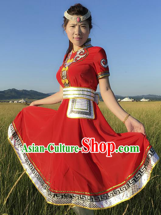 Chinese Mongol Nationality Ethnic Costume Red Dress, Traditional Mongolian Folk Dance Clothing for Women
