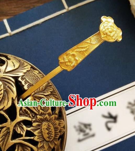 Chinese Ancient Hair Accessories Hanfu Hairpins Brass Carving Hair Clip for Women