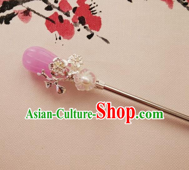 Chinese Ancient Hair Accessories Hanfu Hairpins Handmade Lilac Jade Hair Clip for Women