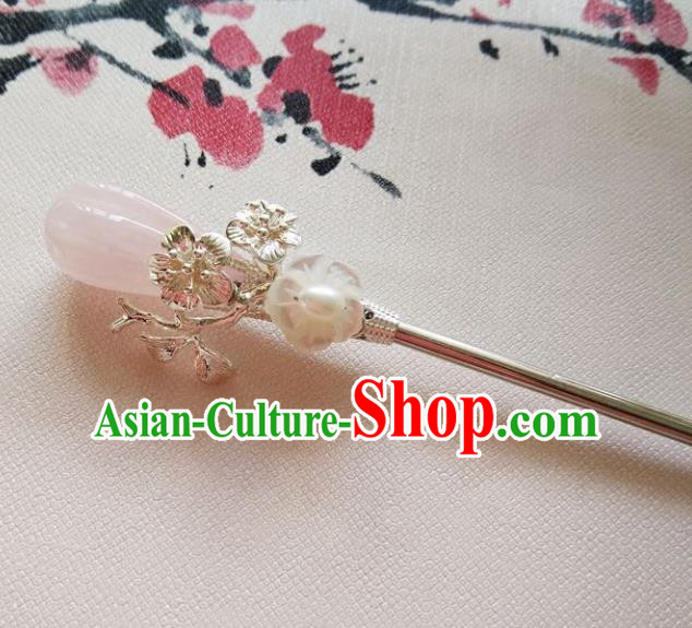 Chinese Ancient Hair Accessories Hanfu Hairpins Handmade Pink Jade Hair Clip for Women