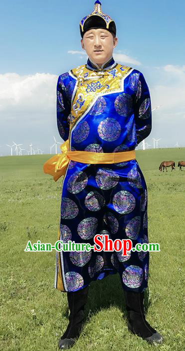 Chinese Mongol Nationality Ethnic Costume Royalblue Mongolian Robe, Traditional Mongolian Folk Dance Clothing for Men
