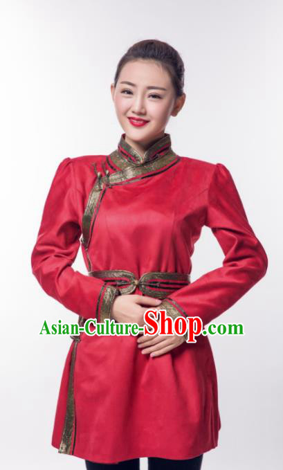 Chinese Traditional Female Red Suede Fabric Ethnic Costume, China Mongolian Minority Folk Dance Clothing for Women