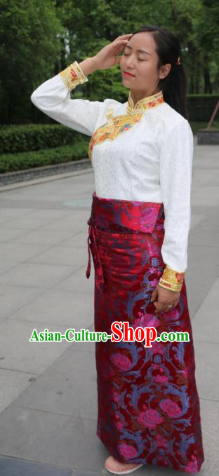 Chinese Traditional Minority Costume Zang Nationality Red Brocade Bust Skirt for Women