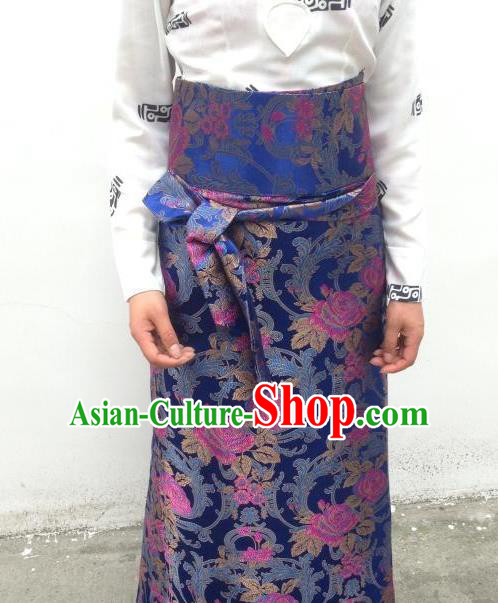 Chinese Traditional Minority Costume Zang Nationality Navy Brocade Bust Skirt for Women