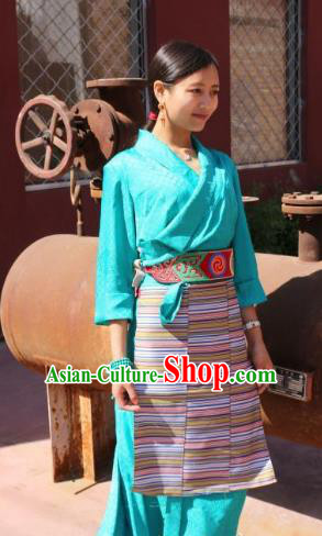 Chinese Traditional Minority Dance Costume Zang Nationality Blue Dress for Women
