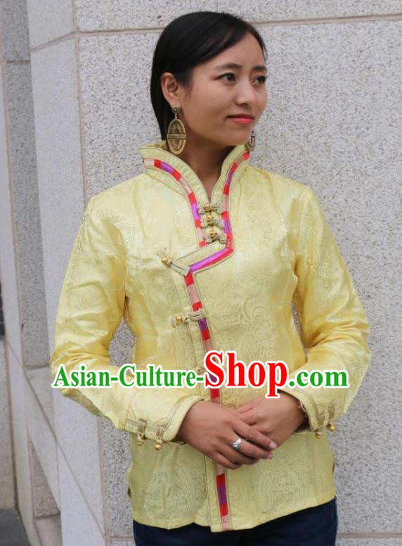Chinese Traditional Minority Dance Costume Zang Nationality Yellow Blouse for Women
