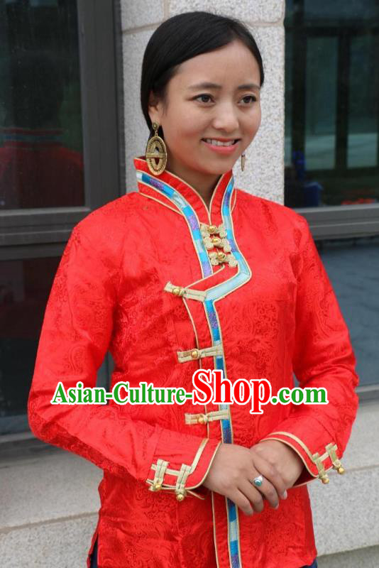 Chinese Traditional Minority Dance Costume Zang Nationality Red Blouse for Women