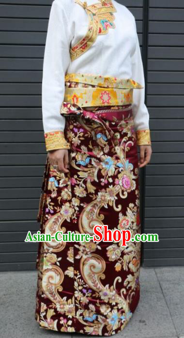 Chinese Traditional Minority Dance Costume Zang Nationality Tibetan Minority Purplish Red Skirt for Women