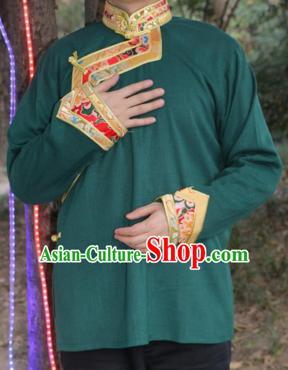 Chinese Traditional Tibetan Minority Dance Costume Zang Nationality Green Shirt for Men