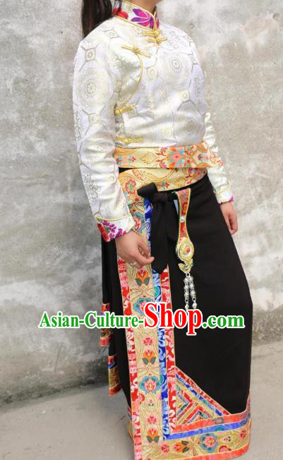 Chinese Traditional Minority Dance Costume Black Tibetan Skirt Zang Nationality Clothing for Women