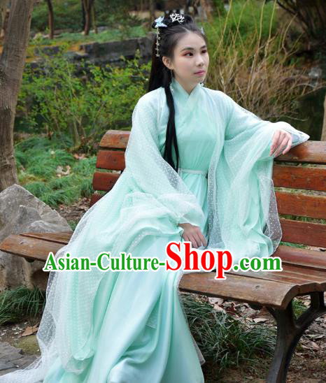 Chinese Traditional Han Dynasty Swordswoman Green Hanfu Dress Ancient Cosplay Princess Costume for Women