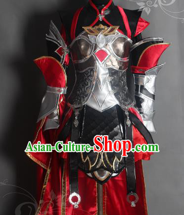 Chinese Traditional Ancient Swordswoman Female Knight Armour Costume and Boots for Women