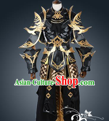 Chinese Ancient Cosplay Warrior Black Costume Nobility Childe Swordsman Body Armour Clothing for Men