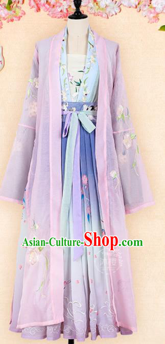 Chinese Traditional Ancient Princess Clothing Tang Dynasty Imperial Consort Embroidered Hanfu Dress for Women