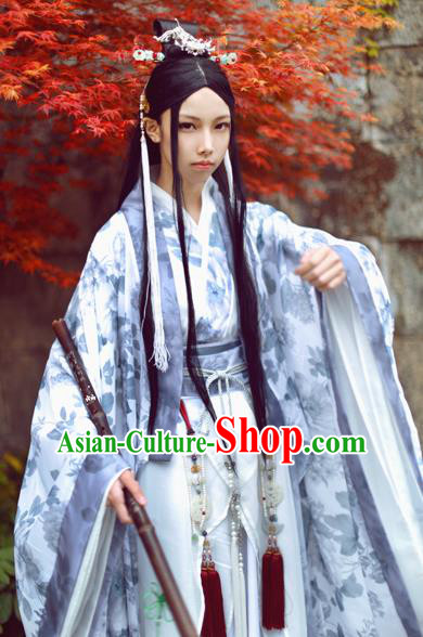 Chinese Ancient Cosplay Swordsman Nobility Childe Embroidered Costume for Men
