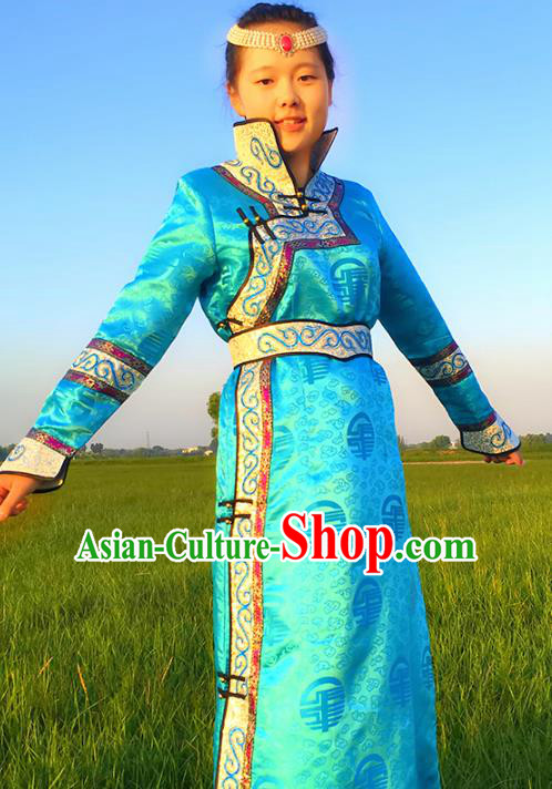 Chinese Mongol Nationality Female Ethnic Costume, Traditional Mongolian Folk Dance Blue Mongolian Robe for Women