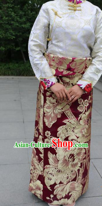Chinese Traditional Minority Dance Costume Wine Red Tibetan Skirt Zang Nationality Clothing for Women