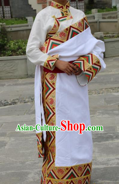 Chinese Traditional Minority Dance Costume White Tibetan Robe Zang Nationality Clothing for Women