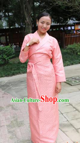 Chinese Traditional Minority Dance Costume Pink Tibetan Robe Zang Nationality Clothing for Women