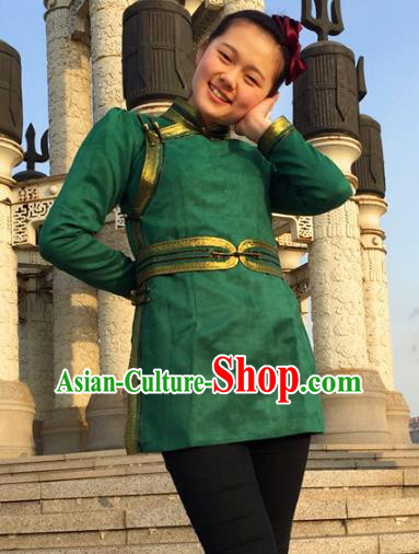 Chinese Traditional Female Ethnic Costume Green Suede Fabric Mongolian Robe, China Mongolian Minority Folk Dance Clothing for Women