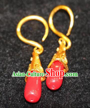 Chinese Zang Nationality Handmade Jewelry Accessories Tibetan Minority Red Earrings for Women