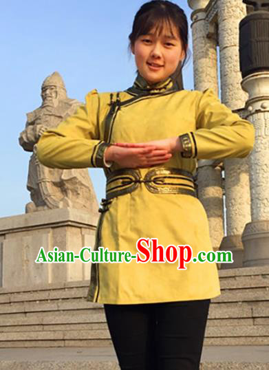 Chinese Traditional Female Ethnic Costume Yellow Suede Fabric Mongolian Robe, China Mongolian Minority Folk Dance Clothing for Women