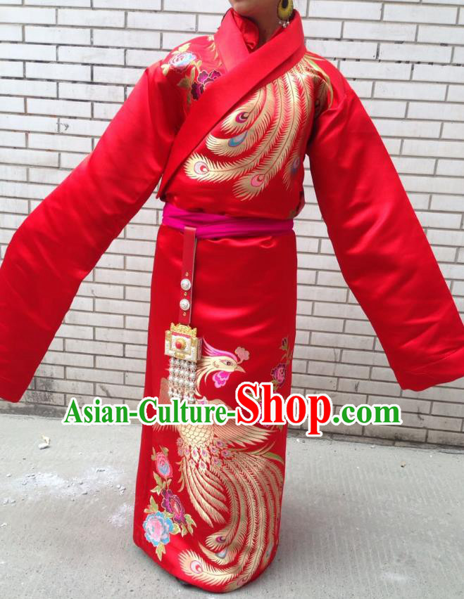 Chinese Traditional Minority Wedding Costume Red Tibetan Robe Zang Nationality Clothing for Women
