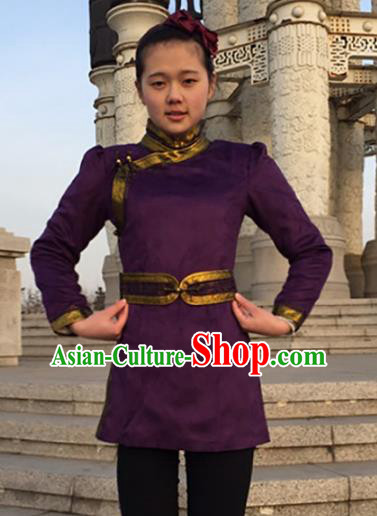 Chinese Traditional Female Ethnic Costume Purple Suede Fabric Mongolian Robe, China Mongolian Minority Folk Dance Clothing for Women