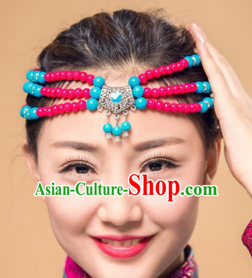 Traditional Chinese Folk Dance Hair Accessories, Mongolian Minority Rosy Beads Hair Jewelry Dance Headband for Women
