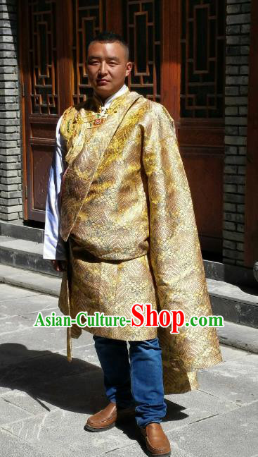 Chinese Traditional Tibetan Minority Wedding Costume Zang Nationality Golden Brocade Tibetan Robe for Men