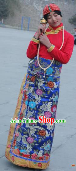 Chinese Traditional Minority Costume Tibetan Royalblue Brocade Skirt Zang Nationality Clothing for Women