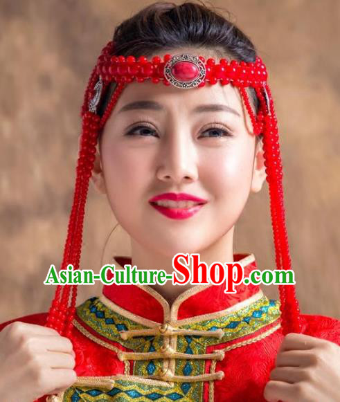 Traditional Chinese Folk Dance Tassel Hair Accessories, Mongolian Minority Red Beads Hair Jewelry Dance Headband for Women